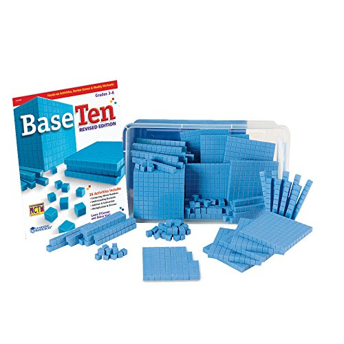 hand2mind Blue Plastic Base Ten Blocks For Kids Ages 8-11, Base 10 Units, Rods, Flats, Cube, And Activity Book, Learn Place Value, Number Concepts, And Counting, Homeschool Math Supplies (Set of 161)