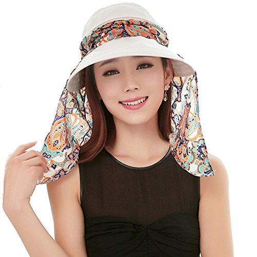 Yimidear® Faltbare Sommer Sonnenhut Weiblicher Hut Baseball Kappe Frauen Anti-UV Hut (White)
