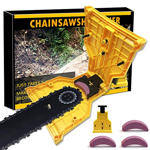XBUTY Chainsaw Sharpener,Chainsaw Portable Chain Saw Blade Teeth Sharpener Work Sharp Grinder Tools Bar Mounted Teeth Fit for One/Two/Nonporous Holes Chain Saw Bar