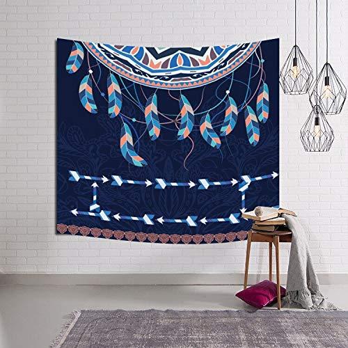 KHKJ Manta para Colgar en la Pared Hippie Color Pluma Dormitorio Poliéster Luna Colgante Chakra Tapices Decoración Bohemia A3 200x150cm