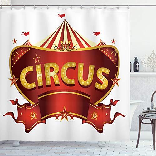 ABAKUHAUS Zirkus Duschvorhang, Karneval Zeichen Nachtleben, Set inkl.12 Haken aus Stoff Wasserdicht Bakterie & Schimmel Abweichent, 175 x 200 cm, Gelb-weiß
