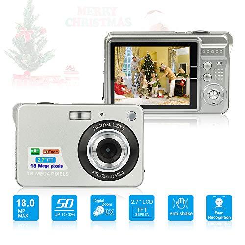 Digitalkamera, Foto Kamera Digital 2,7 Zoll 18 MP HD Mini Digitalkameras mit 8X Digitalzoom Digital Kameras Geschenk Fotokamera Digital Kompaktkameras für Kinder, Erwachsene (Silber)
