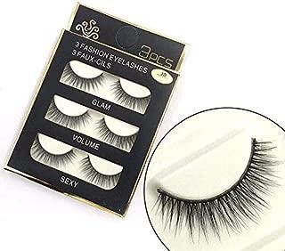 Sunniess Hair Imported Fiber 3D Mink False Eye lashes Handmade Reusable Long Cross Makeup Natural 3D Fake Thick Black EyeLashes 3 Pairs(3D-08)