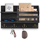 Mail Organizer Wall Mounted with Key Hooks, Wood Mail Holder and Sorter with Key Holder for Letters, Bills Organizing, Decorative Mail and Key Organizer for Wall for Entryway, Hallway, Kitchen …