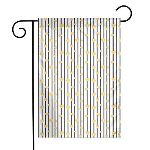 KAWAHATA Golden Hearts Grey Lines UV Fade Resistant Garden Flags Custom Vivid Color Home Decoration