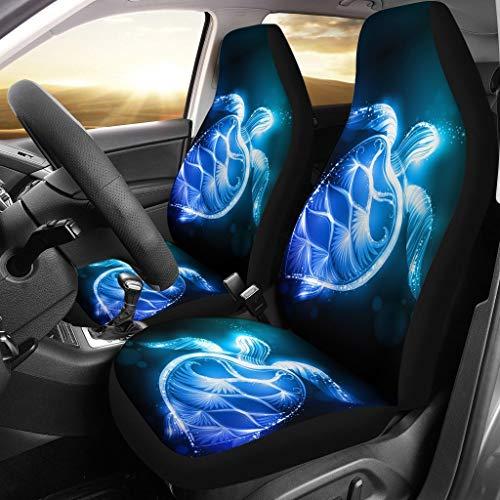 BIGCARJOB Blue Neon Sea Turtle Print Universal Fit Car Seat Covers Automotive Interior Protector Accessiores,Front Bucket Seat Cover Full Set of 2,fit Most Car SUV Van Truck