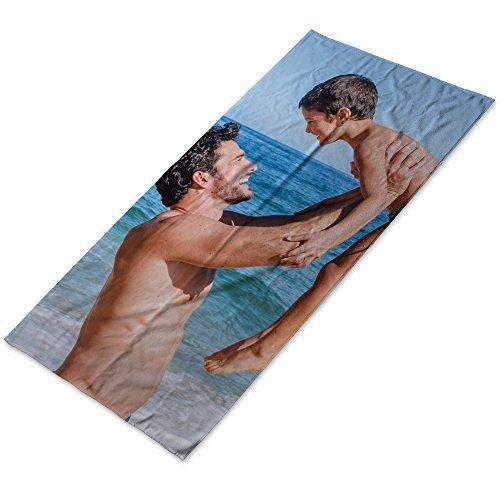 LolaPix Personalisiertes Fototuch mit Foto/Bild/Text/Name Badetuch aus Baumwolle. Personalisiertes Handtuch für den Swimmingpool-Campingstrand. Verschiedene Größen verfügbar. 70x140cm