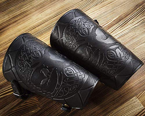 Hand Made Full Grain Leather Cuffs Bracers Fathers Day Dad Gift for Men - LARP Gauntlet - Leather Wristbands - LARP Accessories Viking - Archery Armguard - Yggdrasil World Tree - Length 6'
