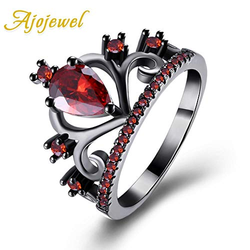 KFYU Retro Crown Ring Black Cubics Zirconia Anelli Donna all'Ingrosso Bague Black Plated Red 9