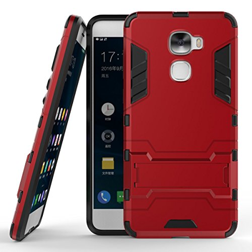 LeEco Le Pro 3 Hülle, 2 in 1 Hybrid Hülle Heavy Duty Rugged Hard Hülle Shock Resistant mit Standfuß Backcover Hülle Handy Schutzhülle Schale Tasche Cover für Letv LeEco Le Pro 3 / Le Pro3 X720 (Rot)
