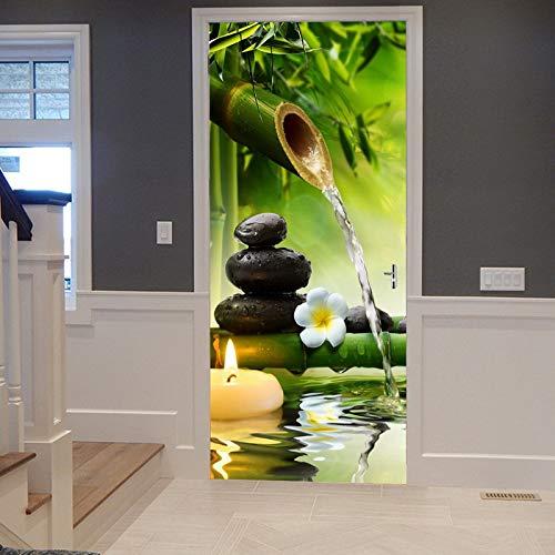 A.Monamour Türtapete Selbstklebend Türfolie Türposter 3D Yoga Meditations Grüne Bambus Wasser Natürliche Landschaft Vinyl Folie Türdeko Tapete Wandbild Türaufkleber Türtattoo 77 x 200 cm