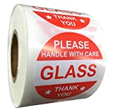 2 Inch Round Red Glass Stickers Please Handle with Care Labels Glass Thank You Stickers - Fragile Glass Warning Shipping Labels for Mailing Packaging 500 Adhesive Labels (Red, 2 inch)