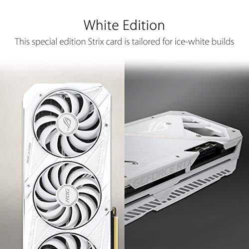 Asus ROG Strix GeForce RTX 3070 White OC Edition 8GB GDDR6 Grafikkarte (PCIe 4.0, HDMI 2.1, DisplayPort 1.4a, Axial-Tech-Lüfter, 2,9 Steckplätze, Super Alloy Power II) weiß