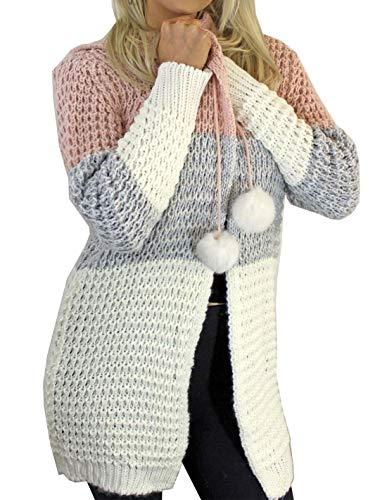 Islander Fashions Damen Tri Farbe Chunky Pom Pom Open Strickjacke Damen mit Kapuze gestrickt Winter Top Pink/Silber/Creme EU 40-42