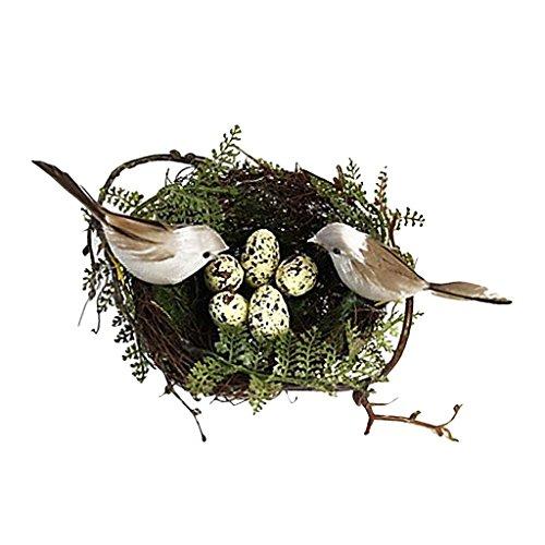 PETSOLA Kunststoff Vogelnest 2 Stü Künstliche Vögel 5 Stücke Gelbe Eier Set Natur Handwerk DIY