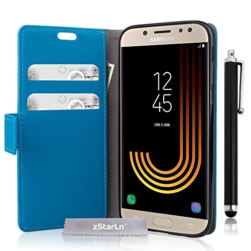 zStarLn blu luxury Portafoglio Protettiva Custodia in pelle per Samsung Galaxy J7 2017 Cover Caso PU custodia + 3 pellicola protettiva e Stylus pen