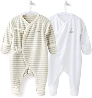 COBROO Unisex Baby Footed Pajamas for Sleep and Play 100/% Cotton Infant Footie Unionsuit with Built-in Mittens 0-3 Months