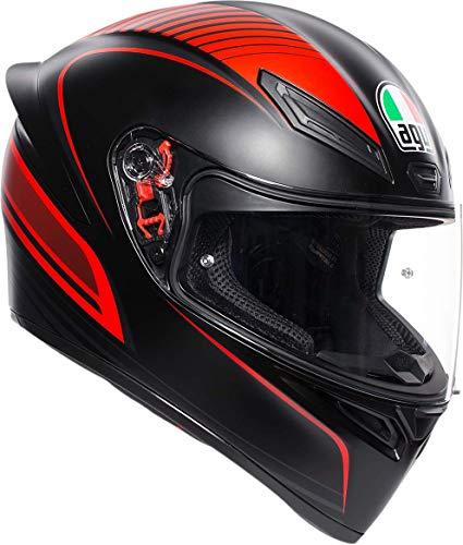 AGV 0101-11786 Unisex-Adult Full Face K-1 Warmup Motorcycle Helmet (Black/Red, Large)