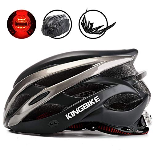 KING BIKE Cycle Helmet Mens Womens Adults Bicycle Bike Cycling Helmets for Men Ladies Women with Safety Rear Led Light and Helmet Packpack Lightweight(Black & Titanium, XL:59-63CM)