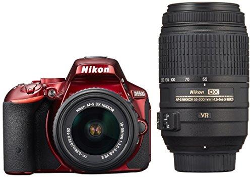 Nikon デジタル一眼レフカメラ D5500 ダブルズームキット レッド 2416万画素 3.2型液晶 タッチパネル D5500...