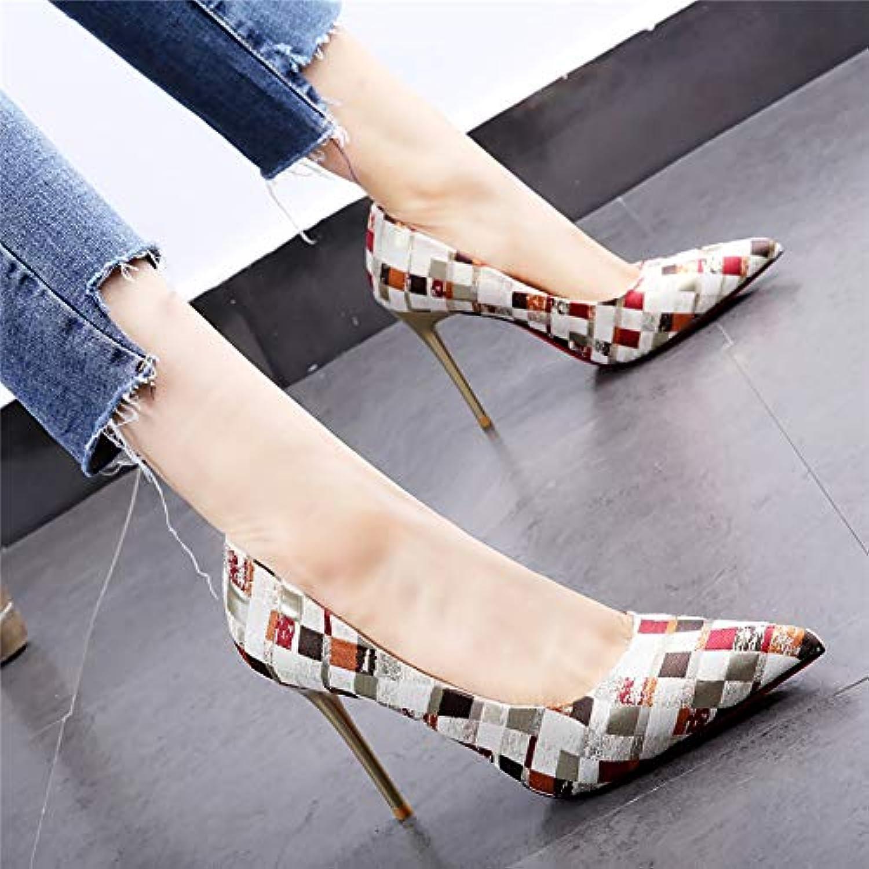 HOESCZS 10cm High Heels weiblich 19 Frühjahr Neue Spitze Gitterfarbe passend zu Stilettmetall mit eleganten Einzelschuhen