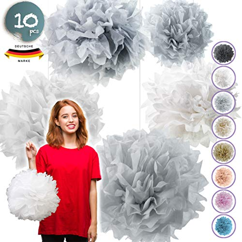 Pumpko® Decor 10 Seidenpapier Pompons | Deko für Party Hochzeit Weihnachtsdeko | Hellgrau Grau Weiß | Inklusive Ponpon PDF Aufbauanleitung