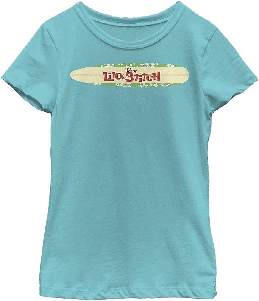 Disney Lilo & Stitch Surfboard Logo Girl's Solid Crew Tee