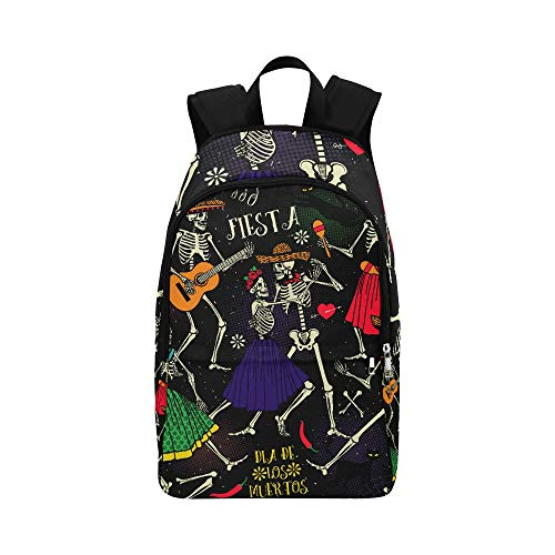 ZXWXNLA Daypack Hiking Kids Funny Skeletons Dance with Music Instrument Durable Water Resistant Classic Youth School Bag Best School Bags Sports Bag Organizer College Bags for Girls