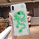 GGOIl Fashion Dragon Animal Pattern Phone Case Transparente Suave para iPhone 5 5s 5c se 6 6s 7 8 11 12 13 Plus Mini x XS XR Pro MAX, A5, para iPhone X XS