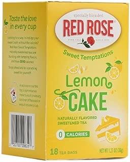 Red Rose Sweet Temptations Naturally Flavored Sweetened Tea (0 Calories) 18 Tea Bags (Lemon Cake)