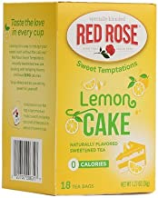 Red Rose Sweet Temptations Naturally Flavored Sweetened Tea (0 Calories) 18 Tea Bags (Lemon Cake)