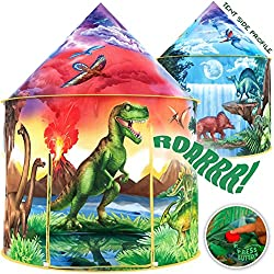 3. W&O Store Dinosaur Discovery Kids Tent with Roar Button