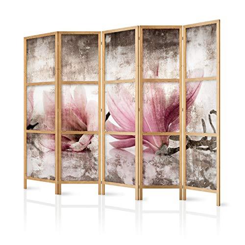 murando - Paravent XXL Blumen Magnolien 225x171 cm 5-teilig einseitig eleganter Sichtschutz Raumteiler Trennwand Raumtrenner Holz Design Motiv Deko Home Office Japan b-C-0390-z-c