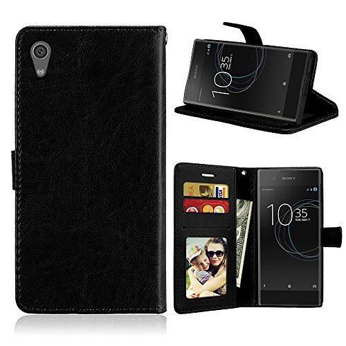 Fatcatparadise Kompatibel mit Sony Xperia Z6 / XA1 Hülle + Bildschirmschutz, Flip Wallet Hülle mit Kartenhalter & Magnetverschluss Halterung PU Leder Hülle handyhülle (Schwarz)