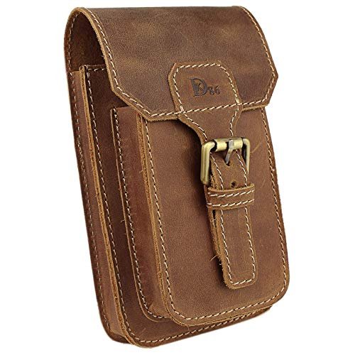 LXFF Mens Genuine Leather Small Hook Waist Bag Belt Pouch Fanny Pack for Cell Phone (Brown - B)