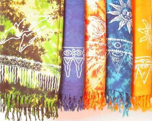 Sarong Stampa Batik, in diversi colori Turchese turchese