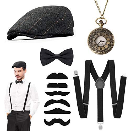 EYNOCA 20er Jahre Herren Accessoires- Fasching Kostüm Herren, Gatsby Mafia Kostüm Set mit Verstellbaren Gangster Hut, Fliege, Vintage Taschenuhr, Schnurrbart