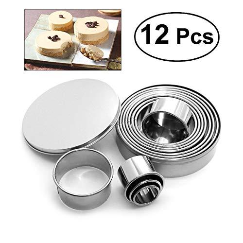 Cortadores redondos de acero inoxidable para galletas, fondant, donuts, pasta, muffins y pasteles (12 unidades)