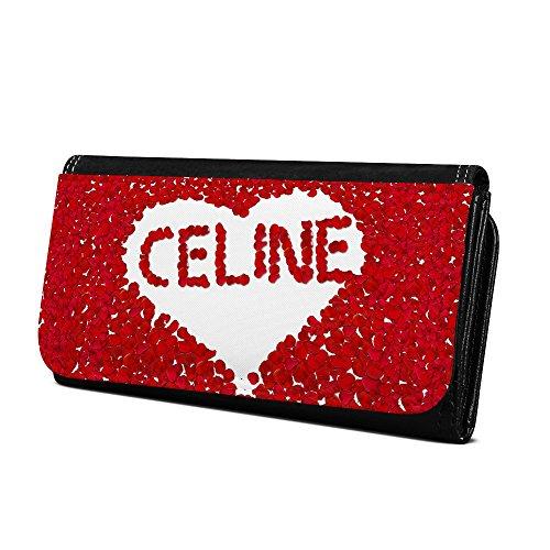 Geldbörse mit Namen Celine - Design Rosenherz - Brieftasche, Geldbeutel, Portemonnaie, personalisiert für Damen und Herren