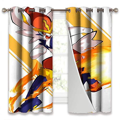 SSKJTC Draps isolants super épais Pokémon Flame Cool pour le salon 132 x 160 cm