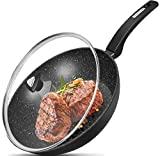 """12"""" Stir Fry Pans with Lids, Nonstick Woks with Ergonomic Handle and Flat"""