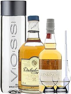 Whisky Probierset Glenkinchie 12 Jahre 0,2L und Dalwhinnie 15 Jahre 0,2L  500ml Voss Wasser Still, 2 Glencairn Gläser und eine Einwegpipette