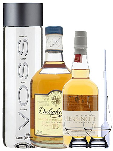 Whisky Probierset Glenkinchie 12 Jahre 0,2L und Dalwhinnie 15 Jahre 0,2L + 500ml Voss Wasser Still, 2 Glencairn Gläser und eine Einwegpipette