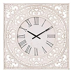 24 Distressed White Ornate Wood Carved Wall Clock