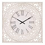 24' Distressed White Ornate Wood Carved Wall Clock