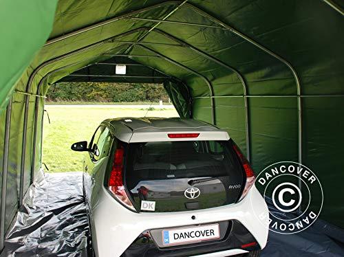 Dancover Zeltgarage Garagenzelt PRO 3,6x6x2,68m PVC, mit Bodenplane Abdeckplane, Grün/Grau