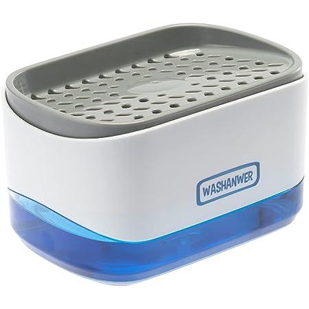Washanwer 🧼 Dispensador de jabon para Lavado de trastes para Fregadero de Cocina, con Bomba de jabón automática y Espacio para Esponja o Fibra. Fabricado en plástico ABS súper Resistente,