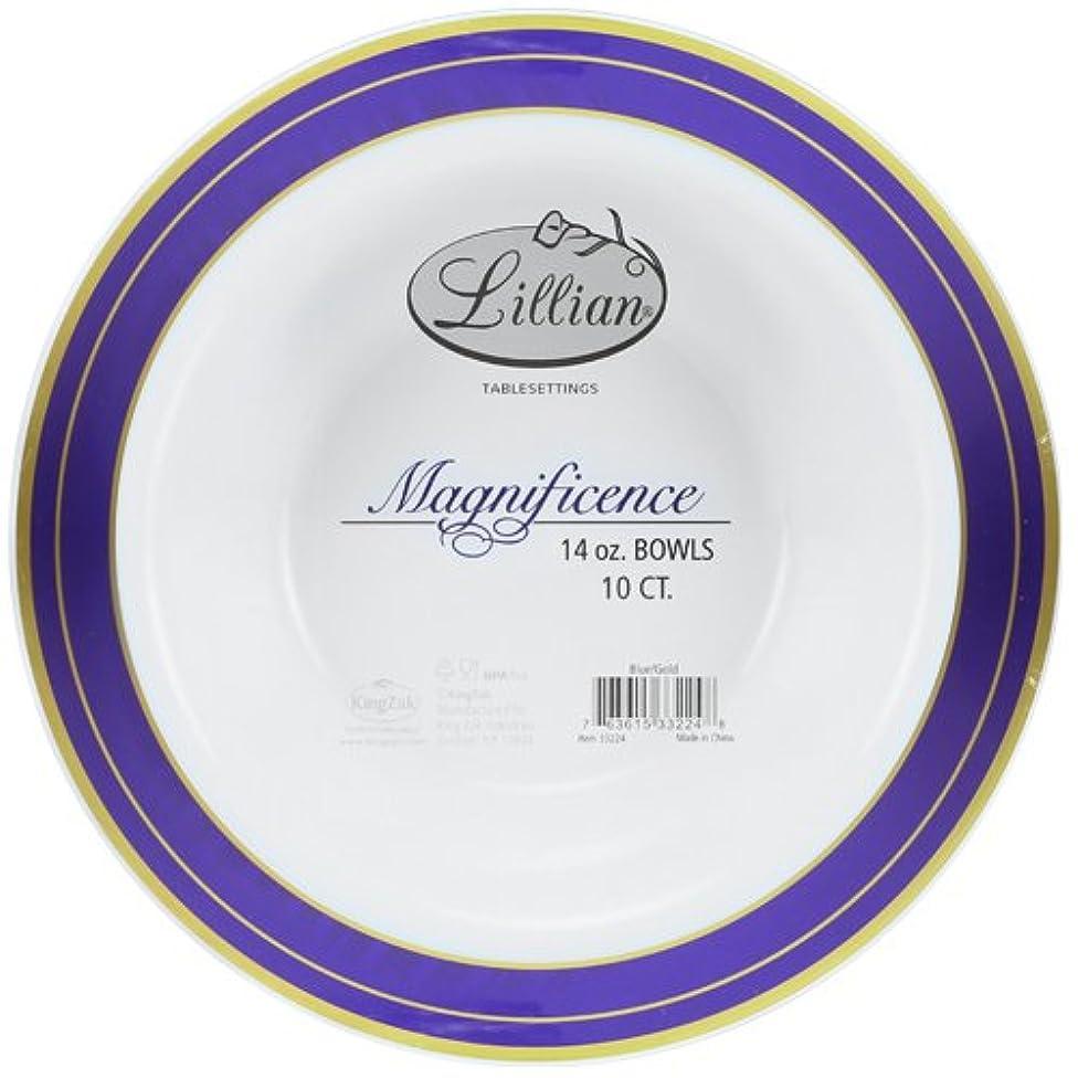 Premium Quality Heavyweight Plastic Bowls China Like. Wedding and Party Dinnerware Plastic Bowls 14 oz inc, White/Blue , 10-Count