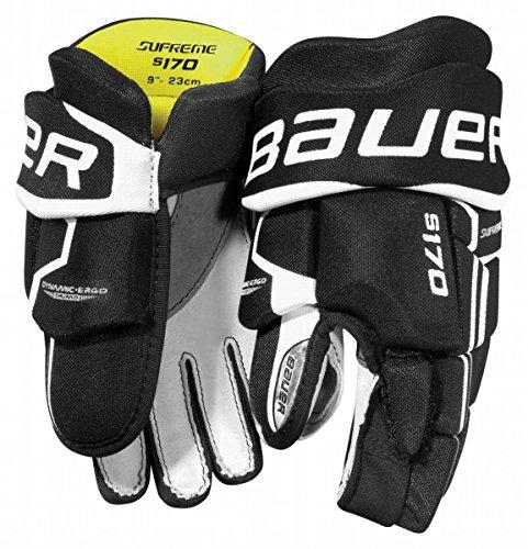 S17 Bauer Supreme S170 Youth Hockey Gloves (Black, 9)
