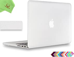 UESWILL 2 in 1 Smooth Matte Hard Case Keyboard Cover MacBook Pro 13 inch Retina Display (No CD-ROM, No USB-C) (Model A1502/A1425, Early 2015/2014/2013/Late 2012), Clear